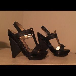 Hale Bob platform leather wedges sandals